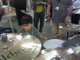 Finley Mapelstone at the Londo Drum Show 2010 trying Shine drums