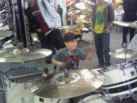 Finley Mapelstone trying Shine Drums at the London Drum Show 2010